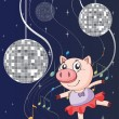 A pig dancing with disco lights - Stok Vektör