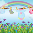 A child's clothes hanging above the garden — Stock Vector