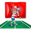 The flag of Hongkong with the tennis player - Imagen vectorial