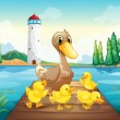 Stock Vector: A mother duck with four baby ducks in the wooden bridge