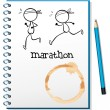 A notebook with two runners in the cover page — Stock Vector