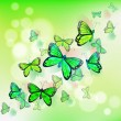 A group of green butterflies — Stock Vector