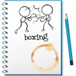 A notebook with two boxers at the cover page — Stock Vector