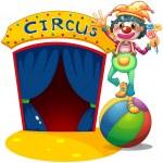 A clown balancing above the air ball — Stock Vector