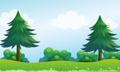The pine trees at the hilltop — Stock Vector