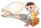 A young boy with a laptop near the big book — Stock Vector