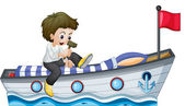 A boy riding in a boat with a red flag — Stock Vector