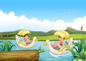 Two swan boats at the river — Stock Vector