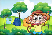 A monkey in front of the hanging clothes at the hill — Stock Vector