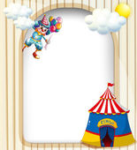A template with a clown and a circus tent — Stock Vector