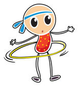 A sketch of a child playing hula hoop — Stock Vector