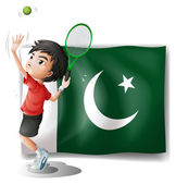 The Pakistan flag and the tennis player — Stock Vector