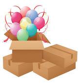 Balloons inside the box — Stock Vector