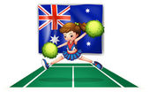 The flag of Australia with a young cheerdancer — Stock Vector
