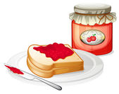 An apple jam with a sandwich in the plate — Stock Vector