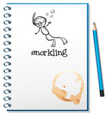 A notebook with a sketch of a person snorkling — Stock Vector