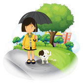 A girl with an umbrella and a puppy at the road — Stock Vector