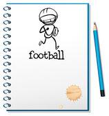 ноутбук с эскизом футбол спортсмен — Cтоковый вектор