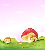 Mushrooms in the hills — Stock Vector