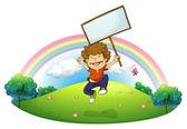 A little boy holding a signboard — Stock Vector