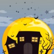 A haunted house and the bright full moon - Stock Vector