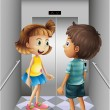 Stock Vector: Girl and boy talking inside elevator