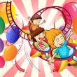 Kids enjoying the roller coaster ride - Stock Vector