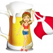 A sexy lady with the flag of Denmark and a glass full of beer at - Stock Vector