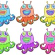 Different colors of an octopus toy - Stock Vector