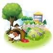 A doghouse with a dog inside a fence — Stock Vector