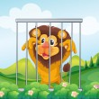 A cage with a wild lion - Stock Vector