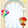 A pethouse near an empty template with balloons and rainbow - Stock Vector