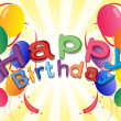 A Happy Birthday greeting with balloons and confetti - Stockvectorbeeld
