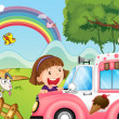The pink icecream bus and the two happy girls — Stock Vector