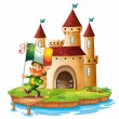 A castle with a man holding the flag of Ireland - Stock vektor