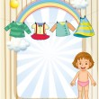 Stock Vector: Baby below hanging clothes