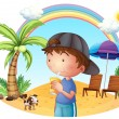 Stock Vector: A young boy at the beach with his pet