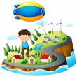 un niño flotando con la aeronave — Vector de stock
