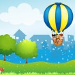 A big hot air balloon with kids — Stockvector #23355384