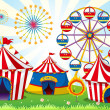 Постер, плакат: A carnival with stripe tents