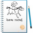 A notebook with a sketch of a man riding a horse — 图库矢量图片