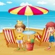 Two boys at the beach near the umbrella and chairs - Stock Vector
