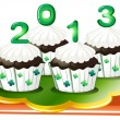 Four chocolate cupcakes for 2013 — Stock Vector