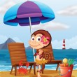 A monkey in a hawaiian attire at the beach — Stock Vector