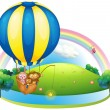Stock Vector: Hot air balloon with three animals