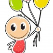 A young boy with three balloons — Stock Vector