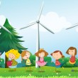 Seven kids playing in the hill with three windmills — Stock Vector
