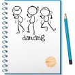 Royalty-Free Stock Vector Image: A notebook with a sketch of three people dancing