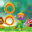 A lion and a clown with a ring of fire — Stock Vector