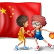 Two boys playing basketball in front of the flag of China — Stock Vector